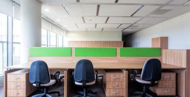Three desks in the new contemporary office interior